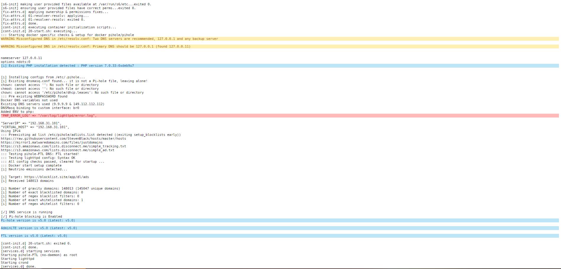Pi-Hole 5.0 - установка блокировщика рекламы на unRAID 6.8.3 6