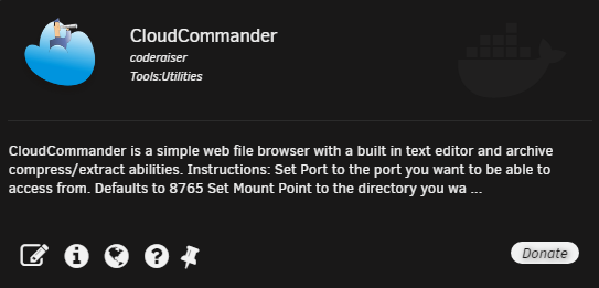 Cloud Commander – файловый менеджер на unRAID 6.8.3 2