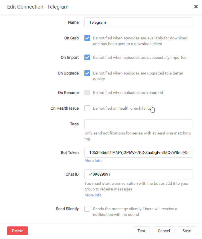 Telegram - настройка уведомлений на unRAID 6.8.3 37