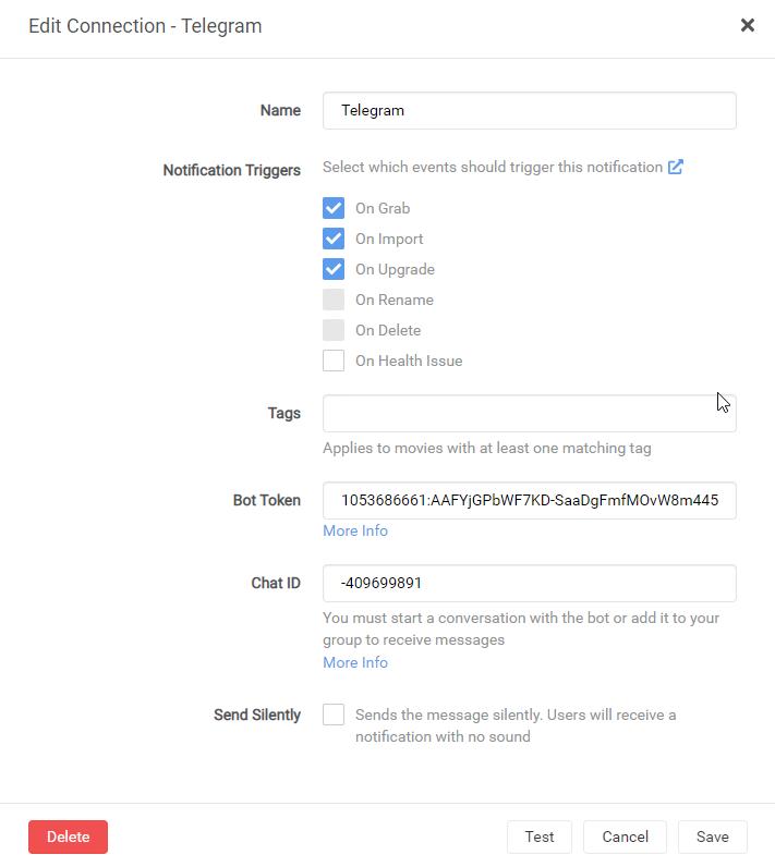 Telegram - настройка уведомлений на unRAID 6.8.3 38