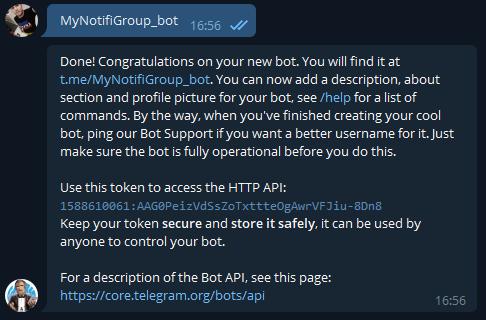 Telegram - настройка уведомлений на unRAID 6.8.3 6